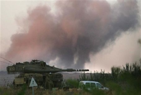 Smoke rises over IDF tank in Lebanese war