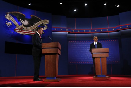 President Obama and Republican candidate Romn