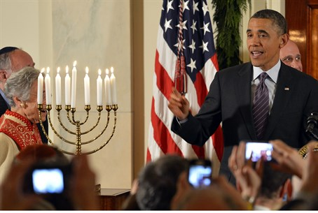 Obama during Hanukkah reception