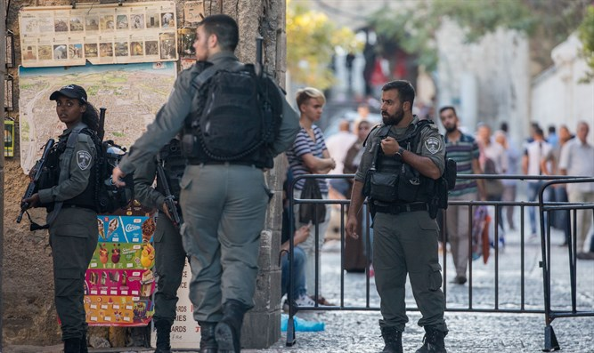 Security forces near scene of attempted stabbing attack in Jerusalem