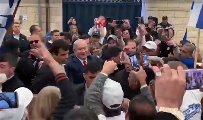 PM Netanyahu with some of his supporters
